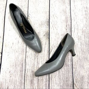 Vtg Penaljo | Grey Leather Pumps Heels